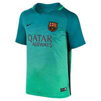New Nike 2016/17 FC Barcelona Junior Kids 3rd Football Kit Shirt Green Glow Mint