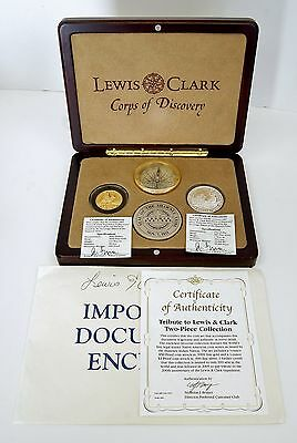 2005 Lewis & Clark Tribute 2 Pc Proof Coin Collection 1oz Fine Silver 1/2oz Gold