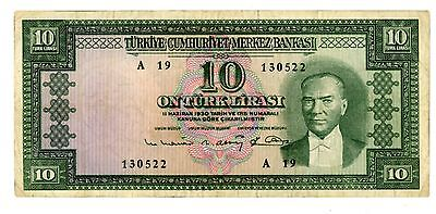 Turkey ... P-156a ... 10 Lirasi ... L.1930 ... *F-VF*