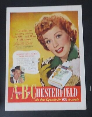 Original Print Ad 1949 ABC CHESTERFIELD Cigarettes LUCILLE BALL  Vintage Art