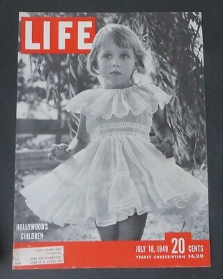 Original Life Magazine COVER ONLY July 18 1949 Hollywood's Children