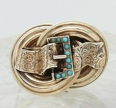 Victorian 9Ct Gold Buckle Brooch With Turquoise, Lapel Pin, Rare, 9K, British