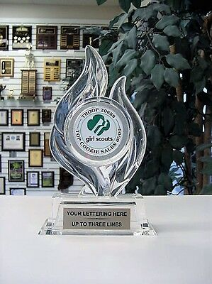 Sculptured Flame Acrylic Girl Scout Trophy Award Small Free Lettering P40126