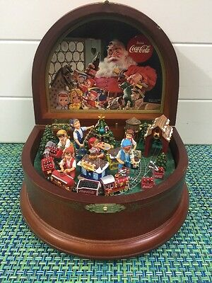"Danbury Mint ""Coca Cola Music Box Works Well Has Ding In Wood In Front ."