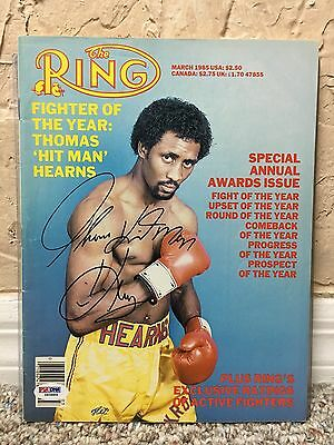 Thomas Tommy Hearns Signed Auto The Ring Magazine March 1985 Nr Mint Psa