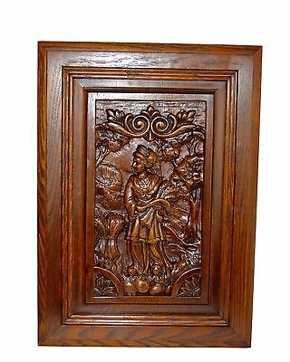 French Carved Wood Panel Picture Breton Figures Brittany Wheat Ears 2