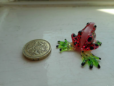 Frog - Beautiful - Colourful -  Miniature Glass  Frog -Red/green/black