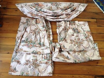 Vintage French Country Handmade Toile Chintz Curtain Set Drapes Valance 26.5x99