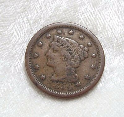 1854 Braided Hair Large Cent VERY FINE 1c