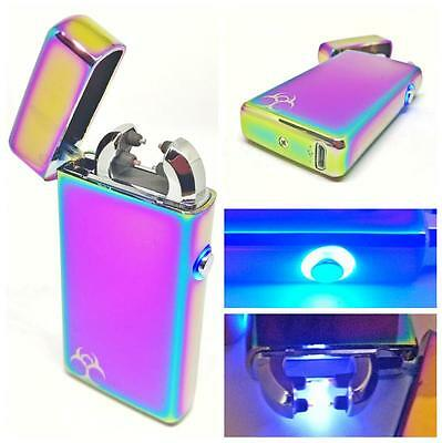 LED Halo Jet Fuel Plasma Arc Lighter USB Rechargeable Windproof Electric Battery