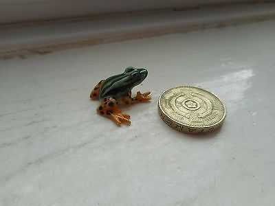 Frog -  Colourful Detail Tiny Miniature Pottery Green/black/gold Tropical  Frog