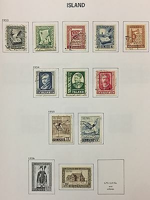 Island Iceland 1953/56 Lot Of 11 Used For Description Look At The Picture Rare