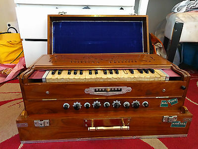 Portable Harmonium KARTAR 9 Air Stops Changing Scale Coupler Knob Multifold Side