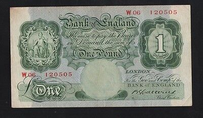 1930,s CATTERNS £1 ENGLISH BANKNOTE PREFIX W06 IN VF++ TO VF+