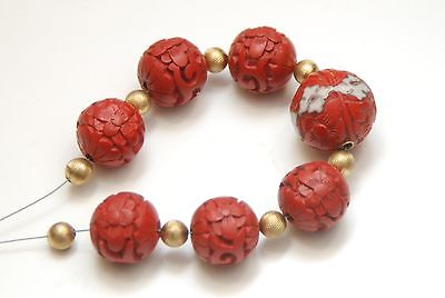 VINTAGE CARVED Cinnabar 15 to 19.5mm Beads_Vintage Gold-Filled 6mm Round Spacers