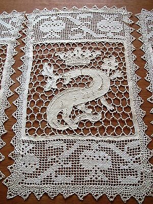 Antique Lace Placemats Figural 2 Needlelace Dragon Crown Table Mats Set