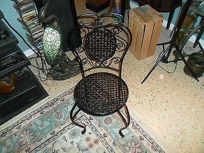 Vintage Heavy French Wrought Iron Chair Restored Black Enamel Adorable !