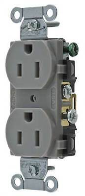 HUBBELL WIRING DEVICE-KELLEMS CR15GRY 15A Duplex Receptacle 125VAC 5-15R GY