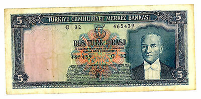 Turkey ... P-174 ... 5 Lirasi ... L.1930 (1965) ... *F++*.