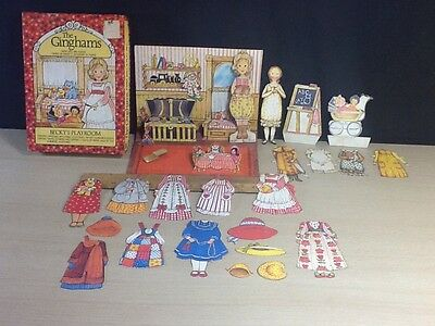 The Ginghams Paper Dolls Becky's Playroom Playset Whitman Vintage Complete 1976