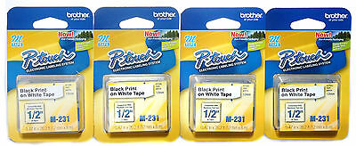 """Genuine Brother M-231 P-Touch Labeler Tape Black on White 1/2"""" 12mm 4 Count"""
