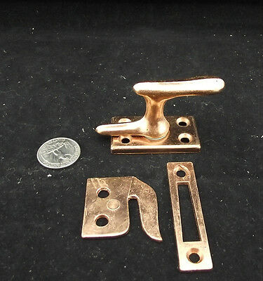 1970's Vintage Lock Icebox Latch Cupboard Etc Brass Finish With Keepers