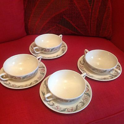 Susie Cooper Production Soup Bowls And Saucers X4