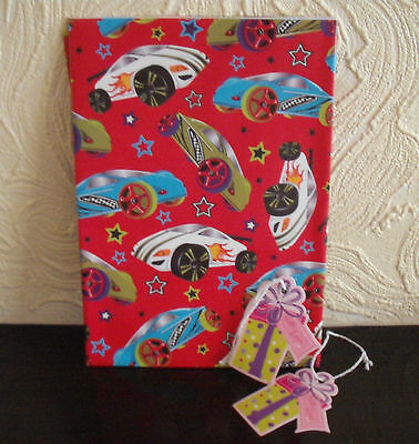 CARS Super Racers WRAP SET 2 Sheets Paper 2 Gift Tags (50 x 70cm approx)
