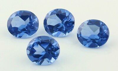 BLUE TOPAZ SYNTHETIC LAB CREATED GEM STONE OVAL CUT 14X12mm 4 STONES
