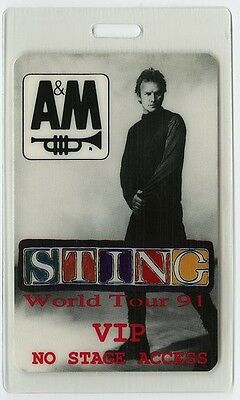 Sting authentic 1991 concert tour Laminated Backstage Pass