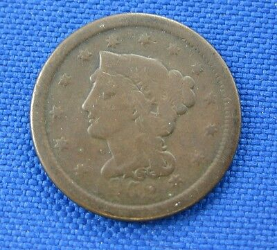 1852 U.s. Braided Hair Large Cent Copper Coin