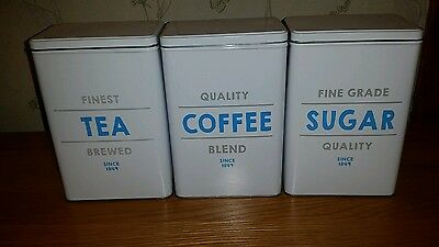 Set Of 3 retro Canisters Kitchen Tea Coffee Sugar Storage Jars Tin Container