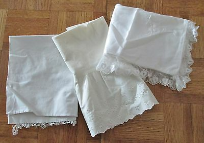 3 Vintage Baby Pillow Cases Satin & Lace, Tatted Trim & Eyelet Embroidery
