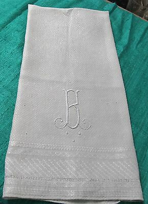 Antique Textured Linen Bath Towel Large B Monogram Handsome Look!