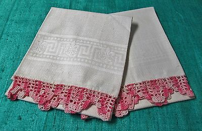 Antique Pr Nubby Linen Towels Variegated Pink & White Filet Crochet Trim Unused