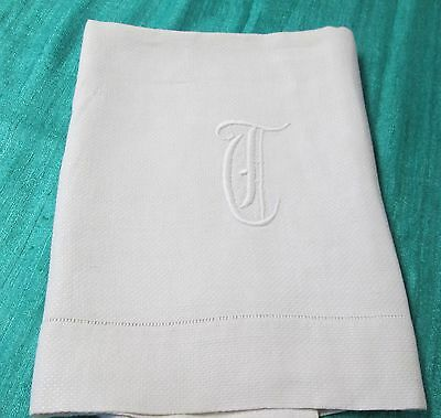 Antique Nubby Linen Damask Bath Towel T Monogram Florals Hemstitched