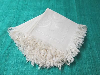 Antique Textured Linen 8 Fringed Napkins Ribbons Bows & Florals Beautiful!