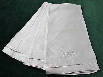 Antique 2 Nubby Linen Towels H P D Monogram Hemstitched