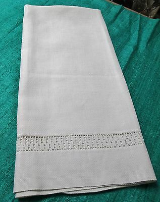 Antique Nubby Linen Bath Towel Filet Crocheted Inset Hemstitched
