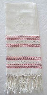 Antique Linen Damask Fringed Show Towel Elaborate P Monogram Turkey Red Striping