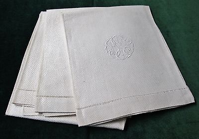 Antique 3 Nubby Linen Bath Towels Gorgeous Intertwined B T S Monogram