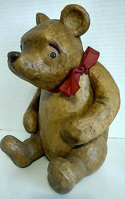 """DISNEY Classic Winnie the Pooh by Charpente Carved Resin 11"""" Tall Movable Arms"""