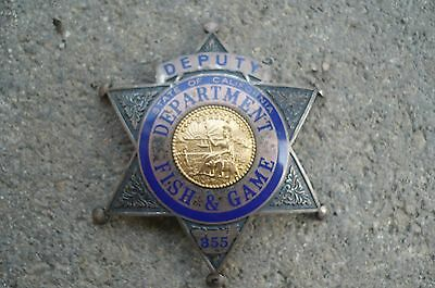 Old Obsolete California CA FISH & GAME Deputy Badge, Ed Jones, Oakland, Sterling