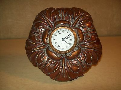 Vintage~Resin~Clock~Battery Opertated~Mantel~Working~Copper Tone~Gager~
