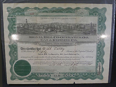 Oil & Gas--Stock Certificate--Signal Hill Co-Operating Oil, Gas & Refining--