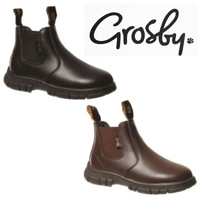 Grosby Ranch Toddler Infant Boys Kids Black / Brown Leather Boots Slip On Shoes