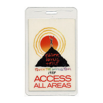 Earth, Wind & Fire authentic 1988 concert tour Laminated Backstage Pass