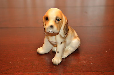 White Brown Spotted Cocker Spaniel Sitting Dog Ceramic Porcelain Figurine