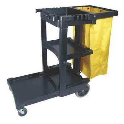 Janitor Cart,Black,1 Shelf,38-3/8 In. H