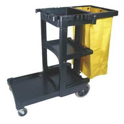 RUBBERMAID FG617388BLA 32 gal. Janitor Cleaning Cart with Zippered Yellow Bag